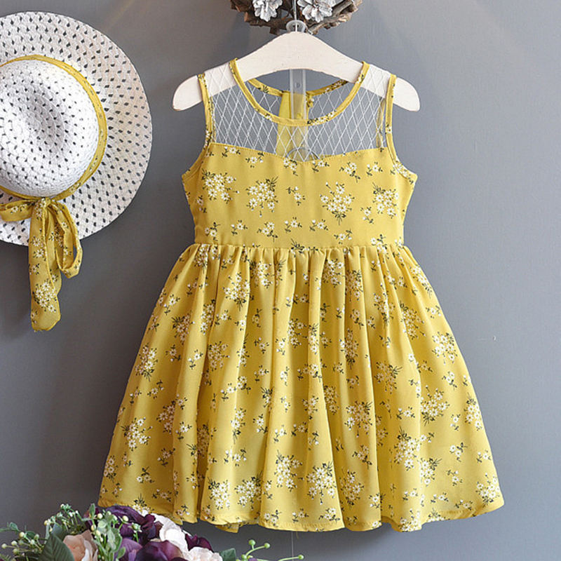 Melario Girls Dress 2018 Summer Children Clothes Splicing Lace Dress+Hat Girls Floral Kids Princess Dress For 2-6 Years Girl