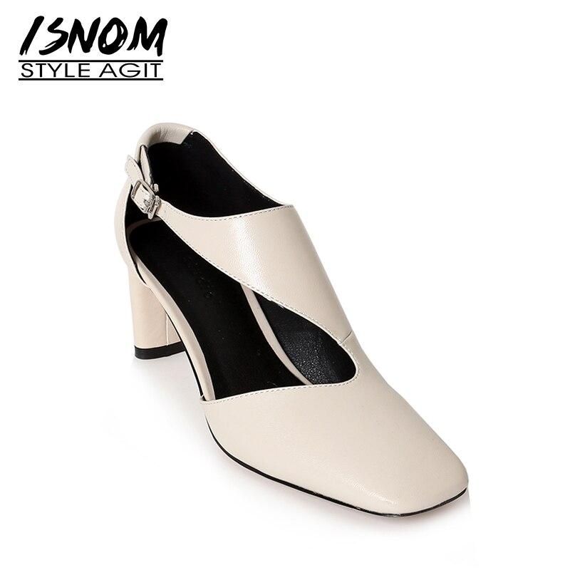 ISNOM 2019 Nouveau Printemps De Hauts Talons Femmes Pompes Bout Carré Chaussures Kid Suede Chaussures Femmes Véritable Chaussures En Cuir Femme Violet