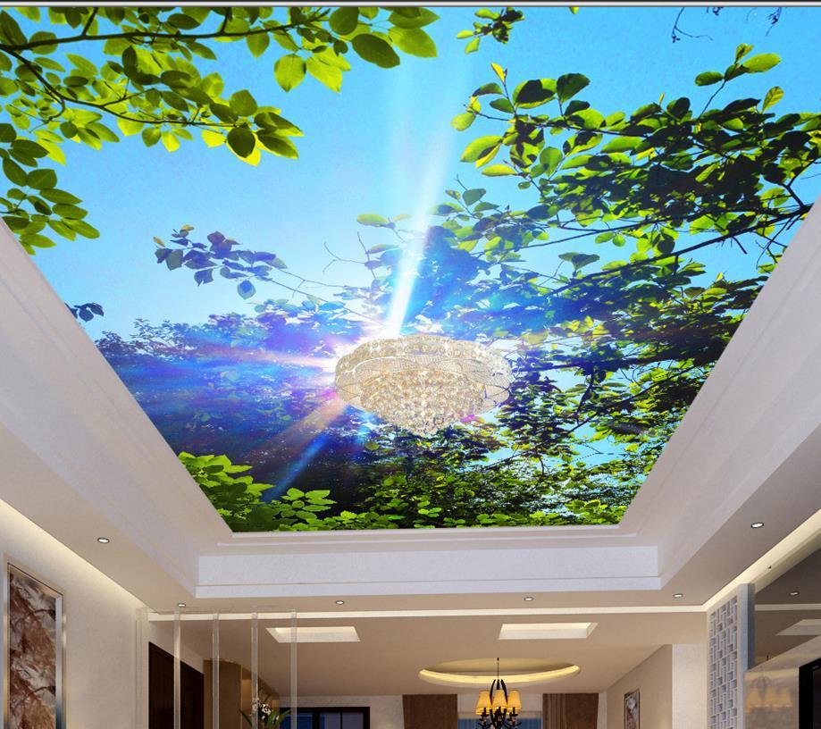 Light Blue Wallpaper Bedroom Bedroom Ceiling Design 2016 Bedroom Ceiling Light Design Beautiful Bedroom Art: Aliexpress.com : Buy Custom 3D Ceiling Wallpaper Non Woven