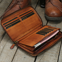 2018 Full leather men's long zipper wallet handmade vegetable tanned leather wallet young large capacity card package purse