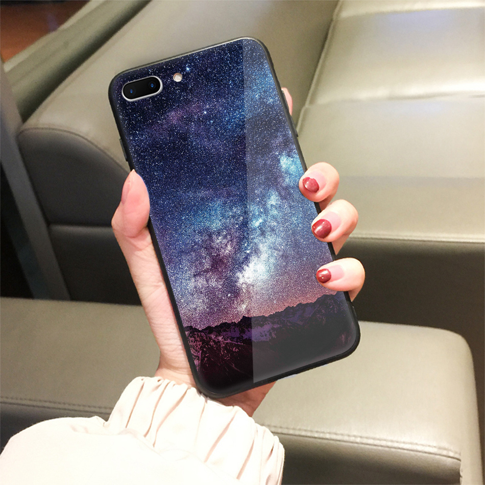 TOMKAS Star Sky Pattern Glass Case For iPhone X 7 8 6 6 s Cover Phone Cases For iPhone 7 8 6 6s Plus X Case Silione TPU PC Coque (23)