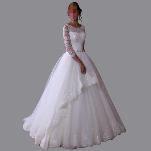 Vintage Three Quarter Length Wedding Dresses: 2016 Vintage Ball Gown Wedding Dresses Lace Three Quarter