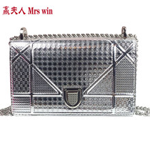Vogue of new fund of 2017 lock the glossy one shoulder bags blingbling inclined shoulder bag chain small package