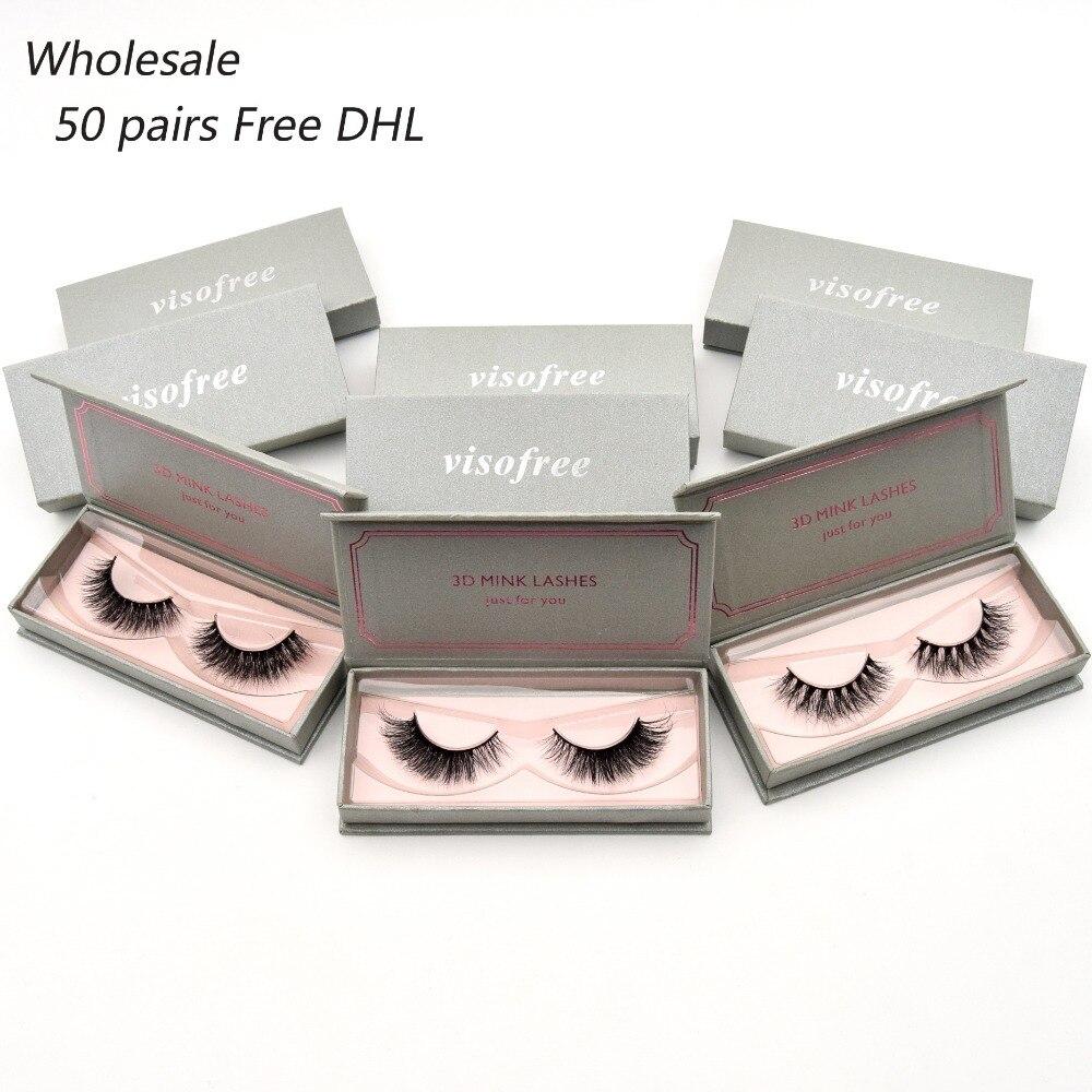 50 paires livraison DHL Visofree Cils 3D Vison Cils Main Fait pleine Bande de Cils Épais Long Faux Cils Maquillage 34 styles lash