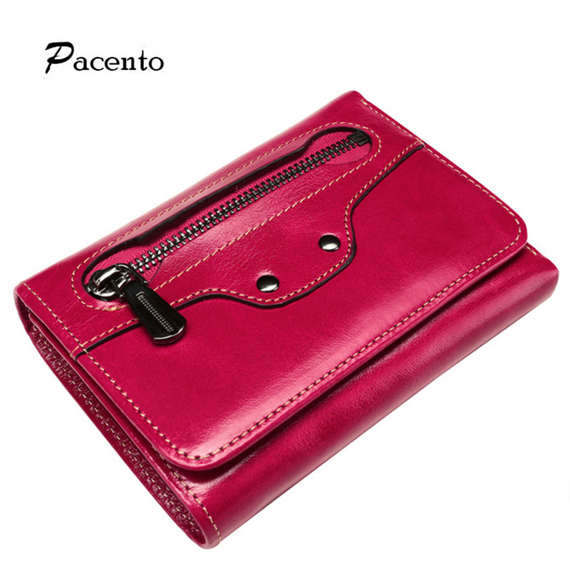 Pacento Women Wallet High Quality Oil Wax Leather Pure Genuin Leather Female Wallet Credit Card Holder with Zipper Lady Wallet baellerry double zipper women business card holder wallet oil wax leather purse female name bank credit cards driver license bag