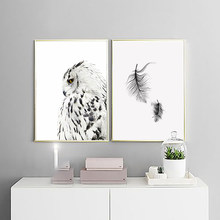 Canvas Printed Poster Home Nordic Style Decor Animal Owl Feather Painting Minimalism Wall Artwork Pictures Living Room Modular(China)