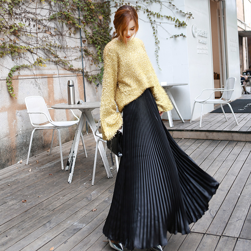 2019 Summer Fashion Vintage Silver Golden Metal Solid Flared  Maxi Skirt High Waist Beach Long Pleated Skirts For Women Ladies