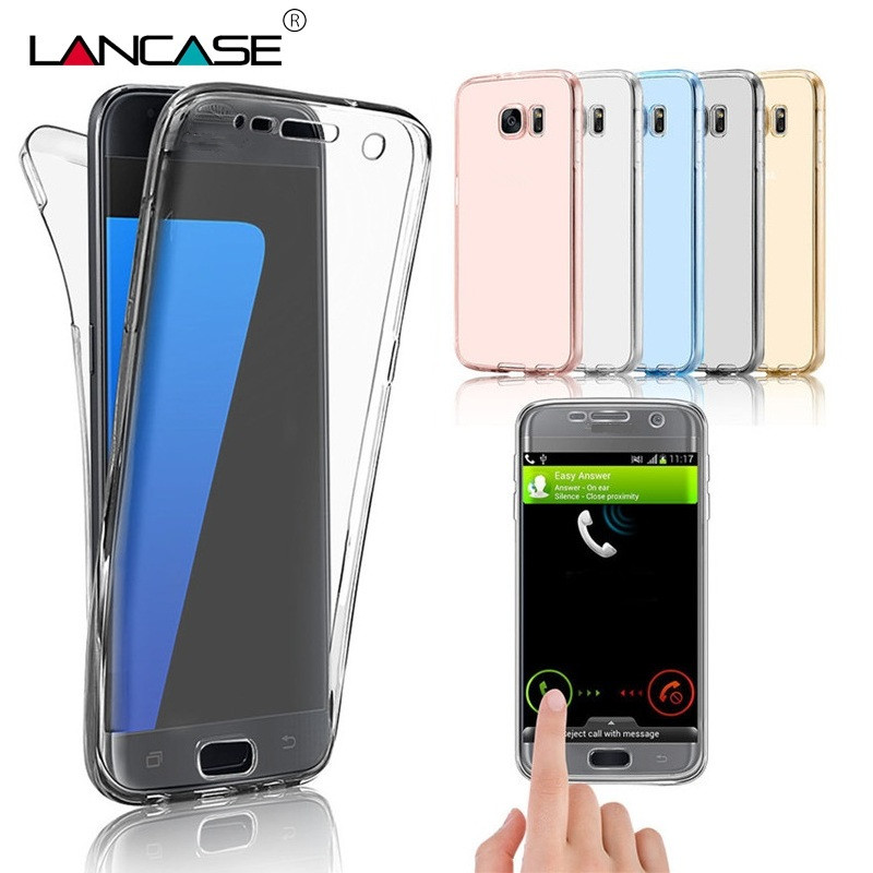 For Samsung S7 Edge Case Clear TPU Full Body Protective Cover For Samsung Galaxy S5 S6 S7 Case Silicone 360 Coverage Note 3 4 5