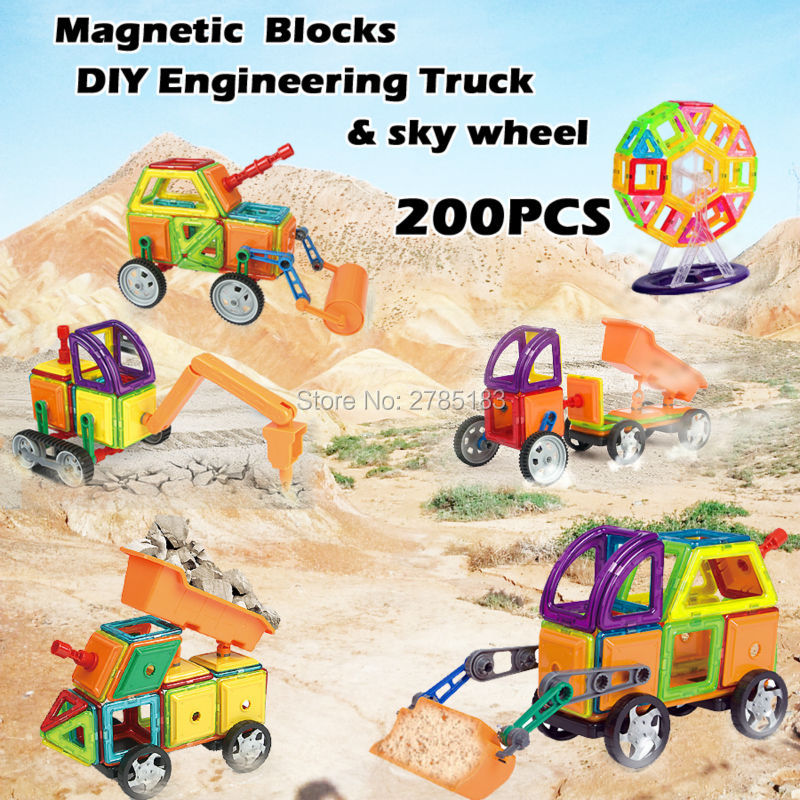 200PCS Magnetic Designer Blocks Toys Educational Blocks Assemble Construction Bricks Engineering Truck and sky wheel Model