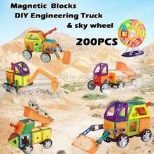 200 pcs Magnetic Designer Blocos Tijolos de Construção de Brinquedos Educativos Blocos de Montar Kits Modelo de Caminhão Engenharia e céu roda