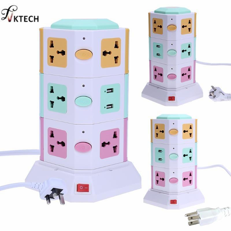 Elegante Universal enchufes eléctricos Vertical toma de corriente AC Traje + 2 puertos USB con interruptor independiente tomas