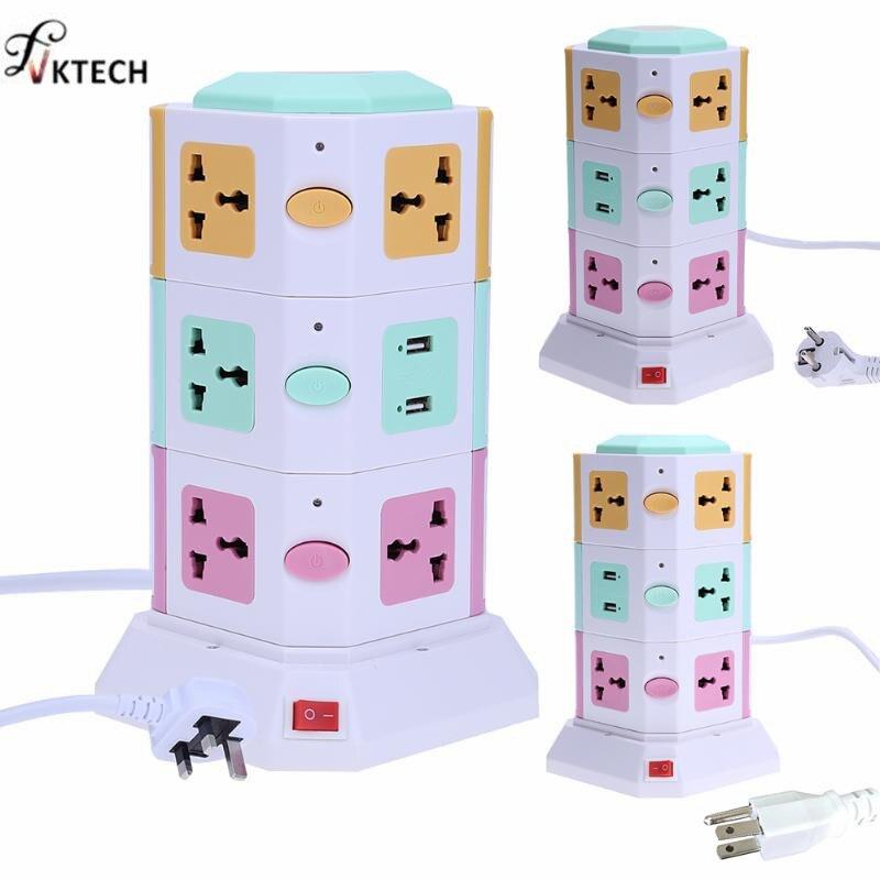 Universal Intelligente Elektrische Stecker Vertikale Steckdose Steckdose AC Power Anzug + 2 USB Ports Mit Separatem Schalter Steckdosen