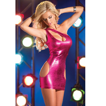 Women Leather Skinny Bodydolls Sexy One Shoulder Hollow Lingerie Cupless Faux Leather Erotic Dress Nightwear Bodycon Dress B118