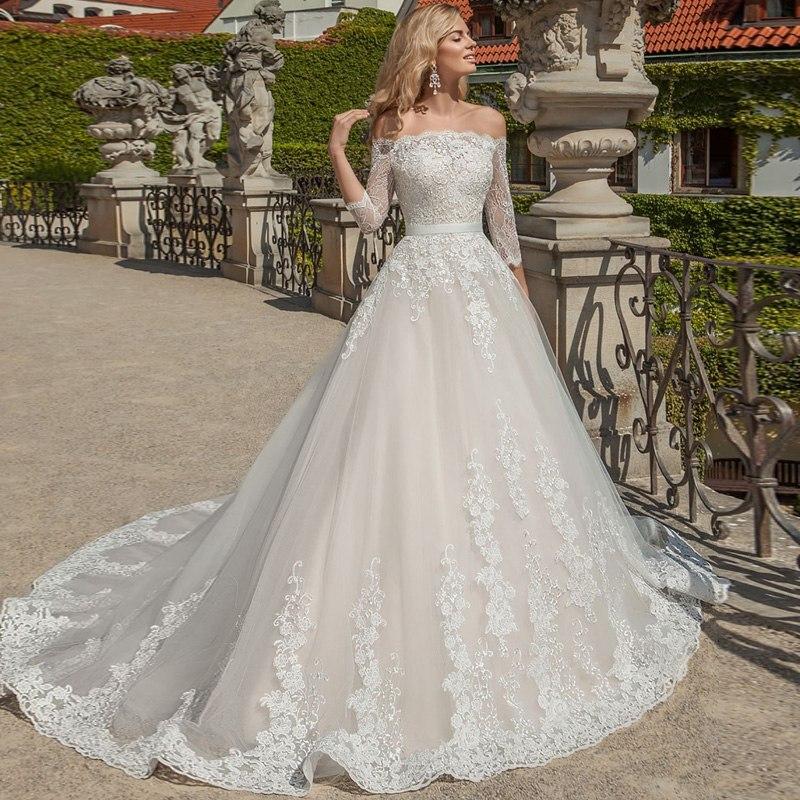 Vestido De Noiva 2020 Wedding Dresses Three Quarter Sleeve Off The Shoulder Lace Dubai Arabic Wedding Gown Ivory Bride Dress
