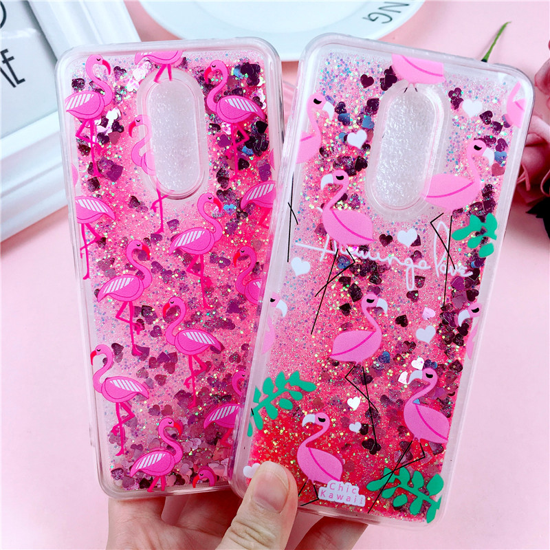 Dynamic Glitter Soft Case on for Xiaomi Redmi 5 Plus Cases for Xiaomi Redmi5 Coque Redmi 5Plus Cute Flamingo Liquid Phone Cover