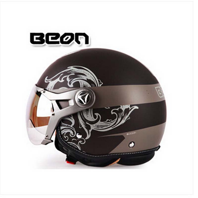 Classic BEON B-100 motocross half face Helmet for men and women, BEON 100 motorcycle MOTO electric bicycle safety headpiece 2016 newest netherlands authorization beon retro air force harley style half face motorcycle helmet b 100 of abs matte black cat