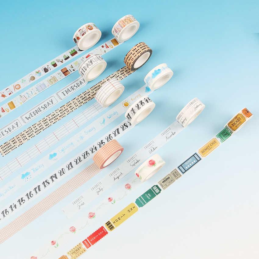 1 PC DIY Kawaii viaje diario dibujos animados cinta decorativa Washi cinta adhesiva de rejilla de encaje para la decoración de la escuela Scrapbooking