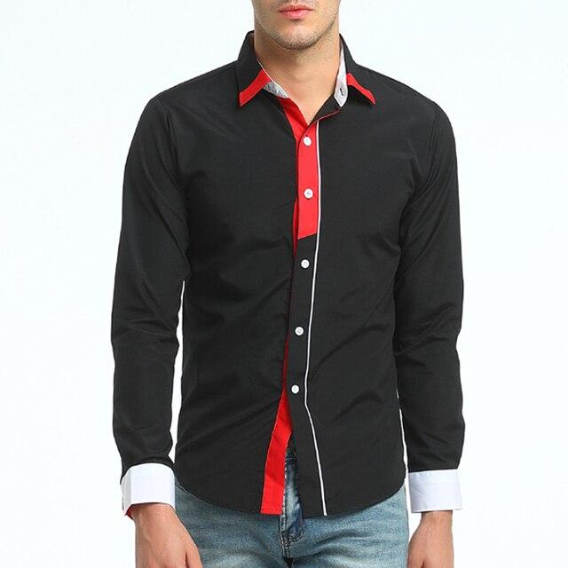 Brand 2017 Fashion Placket Male Shirt Long-Sleeves Tops British Business Casual  Shirt Mens Dress Shirts Slim Men Shirt XXXL