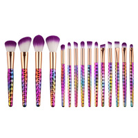 New 15pcs Purple Makeup Brushes Set Synthetic Hair Make Up Brush Tools Cosmetic Brush Professional Foundation