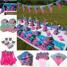 82pc/set Trolls Birthday Party Supplies Tablecloth Plate Cup Napkin Straw Flag Knife Fork Spoon Tableware Decoration Favor