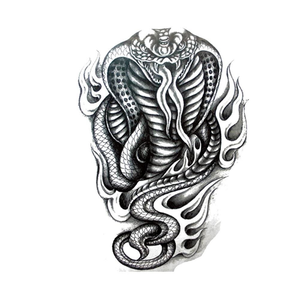 Tribal-Tattoos Domineering-Black-fire-flame-cobra-temporary-font-b-tattoos-b-font-indian-snake-arm-back-font