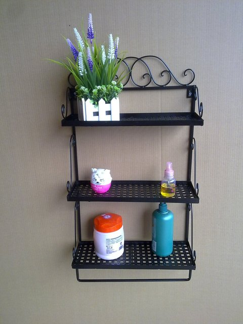 Wrought Iron Bathroom Shelves Craft Towel Rack Shelf Countryside Style Accessories For
