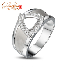 7.0mm Trillion Cut Pave Full Cut Diamond 14ct White Gold Engagement Mens Ring