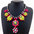 2015 New Top Quality Gorgeous Crystal Chunky Women Jewelry Necklaces & Pendants Unique Colorful Resin Leaves Statement Necklace