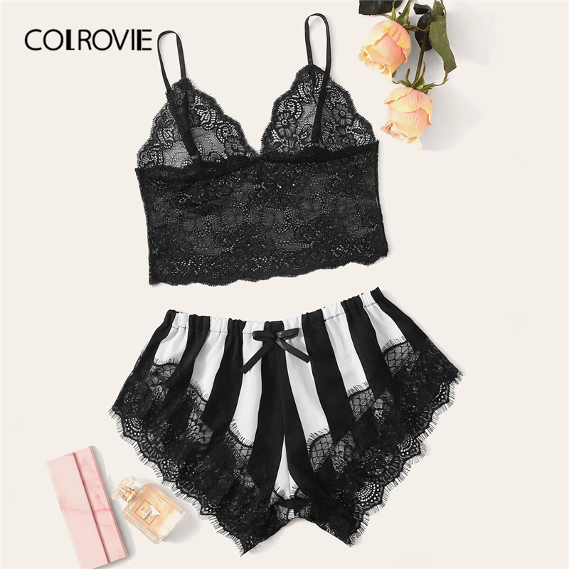 COLROVIE Black and White Floral Lace Bralet And Striped Shorts Women   Pajama     Set   2019 Summer Nightgowns Ladies Sexy Sleepwear