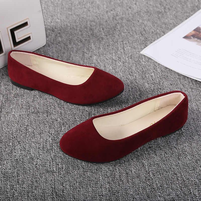 Plus Größe 35-43 Frauen Wohnungen Beleg auf Flache Schuhe Candy Farbe Frau Boot Schuhe Schwarz Faulenzer Faux Wildleder damen Ballett Wohnungen LHCGY