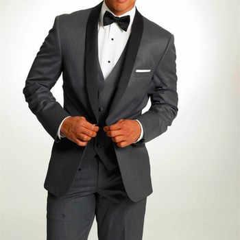 2017 New black men suit Groom Tuxedos Gray Men's Suit Peak Lapel Groomsmen Men Wedding Suits Prom Suits (Jacket+Pants+Vest+bow) - DISCOUNT ITEM  33% OFF All Category