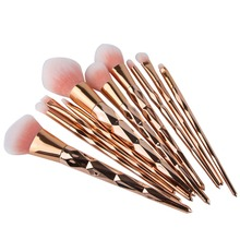 10PCS Rose Gold Make Up Brush Set High Quality Foundation Blusher Powder Brush Tools Flat Eyeliner Eyebrow Makeup Brush #228435