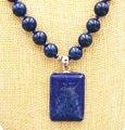 """Dom mulheres palavra Amor Moda feminina Jóias Bonito 10 MM azul Lapis Lazuli Beads & Colar de Pingente De Cubo 18 """"WW"""