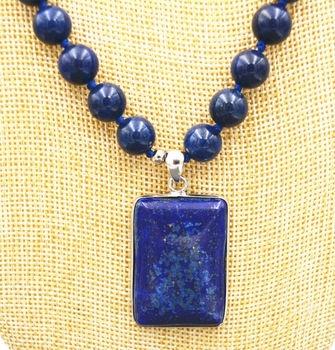 cc56c6e83a14 Regalo de las mujeres palabra Amor Joyería Moda mujer Hermosa 10 MM azul  Lapis Lazuli Beads   Collar Colgante Cubo