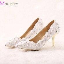 Schöne Weiße Spitze Blume Braut Schuhe Spitz Pfennigabsätzen Formelle kleidung Schuhe Hochzeit Event Party Schuhe Dame Prom Heels