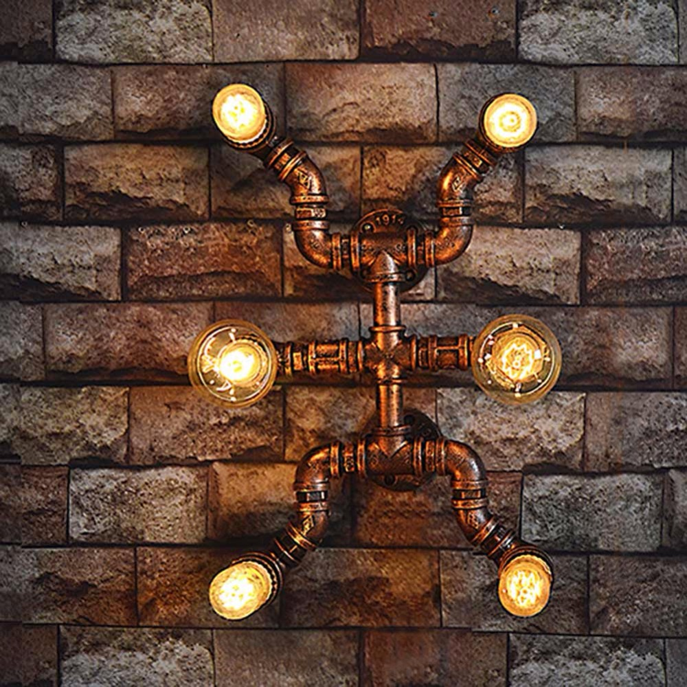 E27 Edison Bulb 6 Heads Creative Retro Loft Industrial Wall Lamp Fixtures Water Pipe Vintage Wall Sconce Stair Light Wall Lamp e27 vintage industrial wall lamp loft creative sconce balcony stair porch restaurant bar bedroom decoration home light with bulb