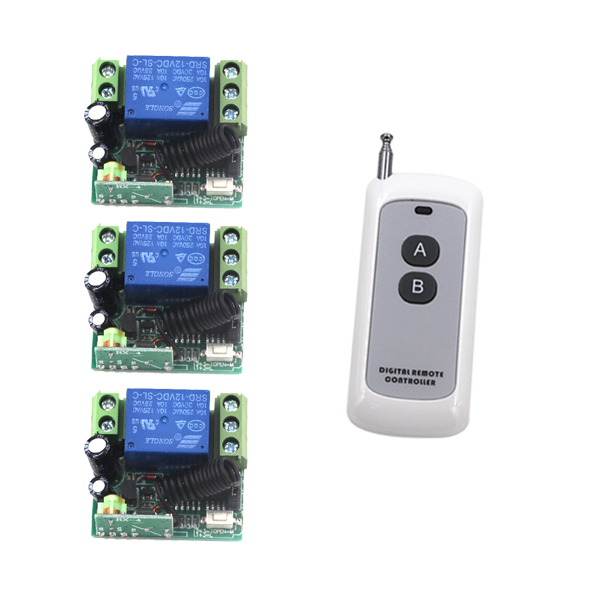 DC 12V 1CH Channel Wireless RF Transmitter Receiver Remote Control Switch 1 Transmitter 3 Receiver 4203 high quality 1 2 3 channel wireless remote control switch digital remote control switch receiver transmitter
