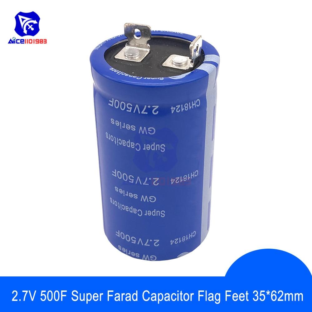 Super Farad Capacitor 2.7V 500F 35*62mm High Frequency Low ESR Flag Feet 2.7V500F Super Capacitor For Car Stereo Speaker Battery