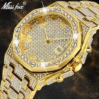 relogio 2019 MISS FOX new gold full diamond watch TOP luxury waterproof men's quartz stainless steel Large dial watch Mens AAA