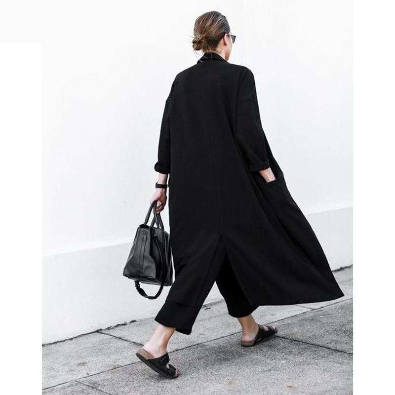 Women Cardigan Loose Coat Split Black Chiffon   Trench   Coat Long Women Windbreaker Loose Female Overcoat Women Casual Wear 2019