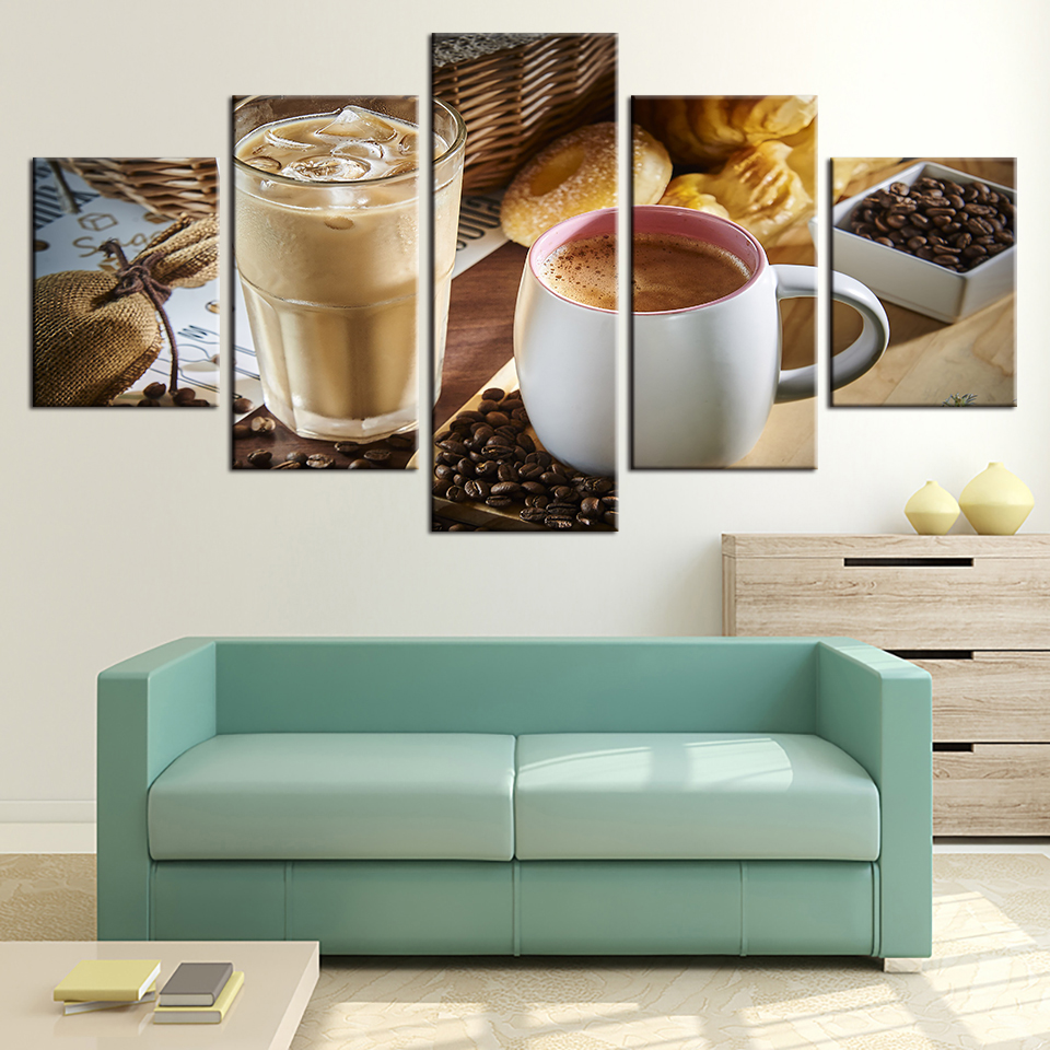Embelish 5 Pieces Coffee Cup And Coffee Bean Wall Art
