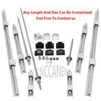 6 Set SBR16 Linear Guide Rail + Ballscrews RM1605 SFU1605 Ball Screws + BK/BF12 + Nut Housing + Couplers For CNC Parts