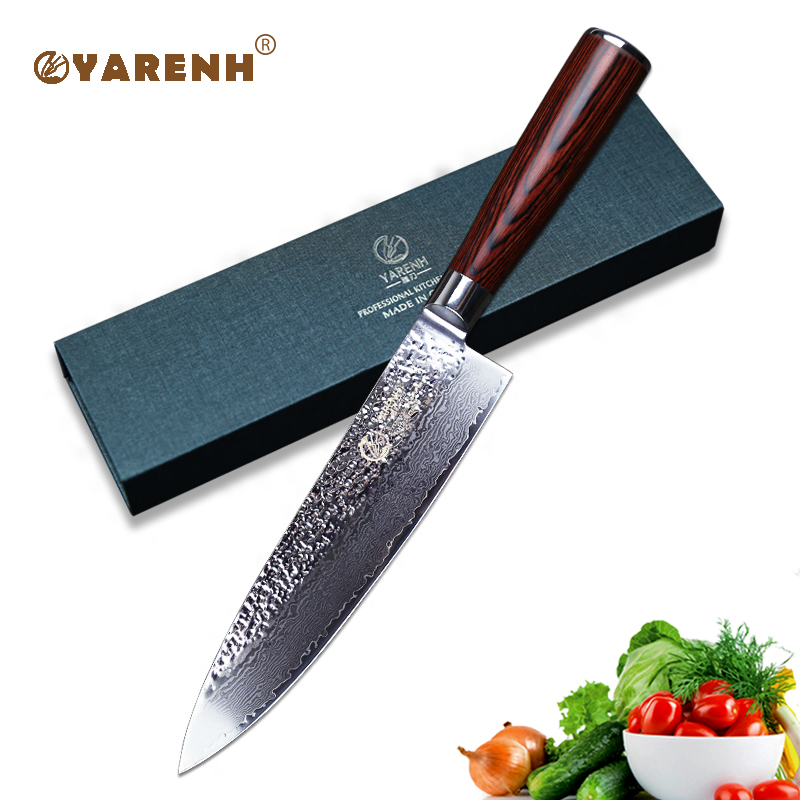 YARENH 8 inch chef knives damascus professional knife Japanese Handmade kitchen knife with wooden handle best