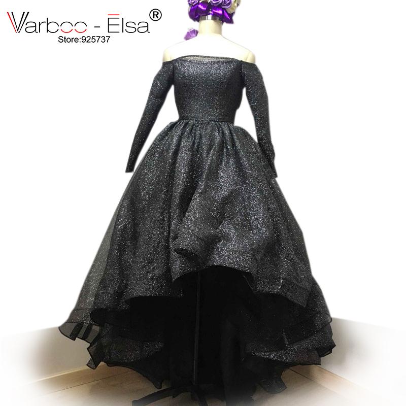 3ec7112a9c95 VARBOO ELSA Off Shoulder Long Sleeve Evening prom Dresses Bling Bling Short  Front Long Back High Low silver prom dress black -in Prom Dresses from  Weddings ...