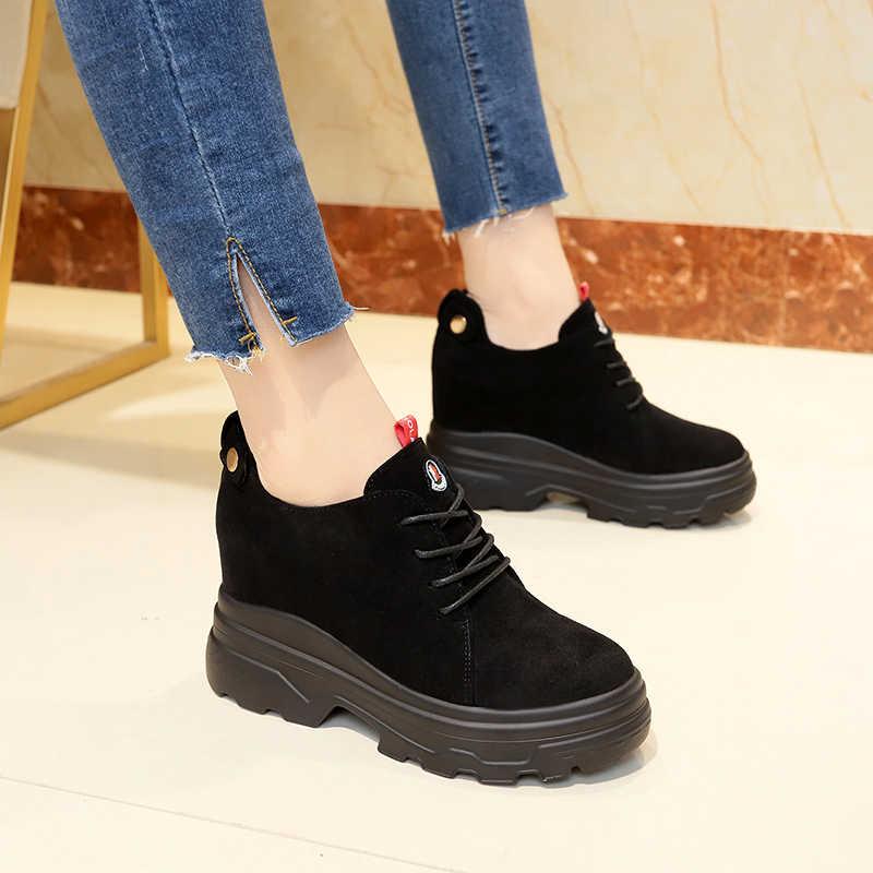 2019 Sonbahar Kadın yarım çizmeler Akın dantel-up 8CM Topuklu rahat ayakkabılar Kalın Topuk Süet Kadın Kış Sneakers Patik Botas mujer