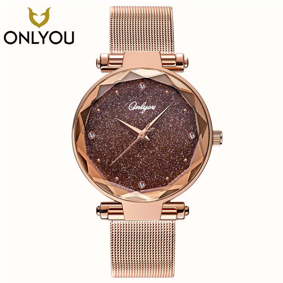 ONLYOU Elegant Women Watches Top Brand Luxury Ladies Wristwatch Rosegold Mesh Steel Jewelry Watch Female Clock Christmas Gifts
