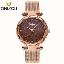 ONLYOU Elegant Women Watches Top Brand Luxury Ladies Wristwatch Rosegold Mesh St