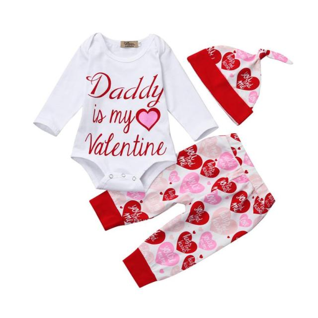 5d2f198ae Valentine's Day Child Set Newborn Infant Baby Girl Letter Romper Tops+Pants+Hat  Outfit Drop Shipping #5-6