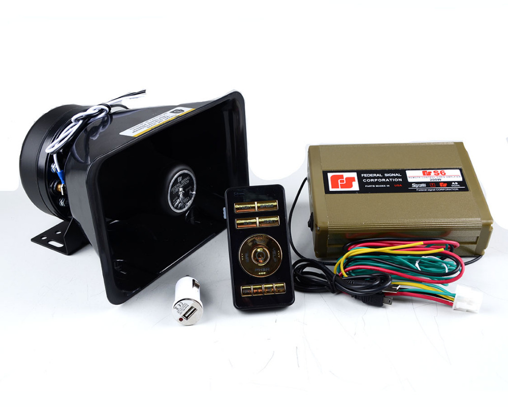 Car Styling 12V 200W S6 Police Siren High Power Car Siren with 2pcs Plastic Fat Speaker