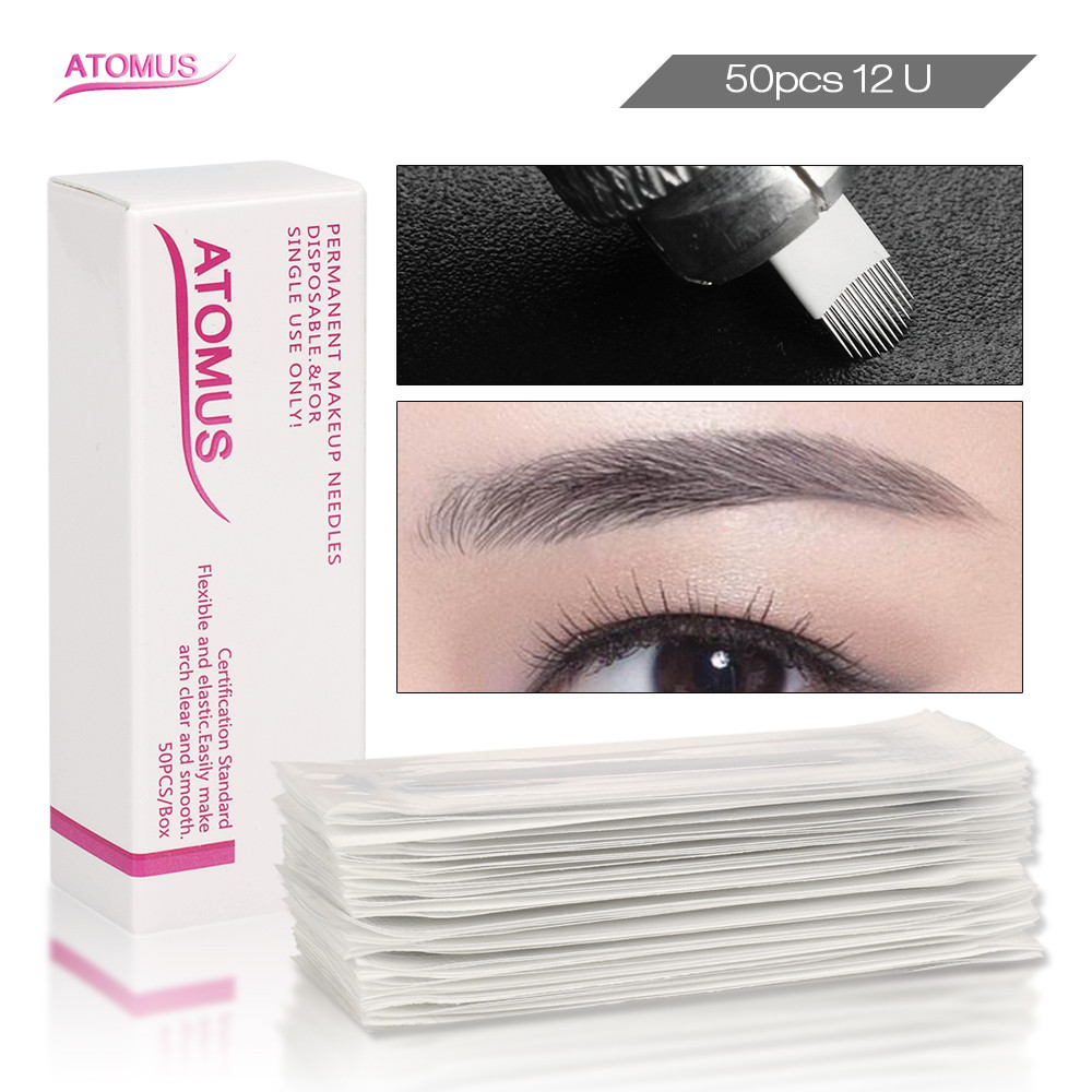 50pcs 12U Shape Tattoo Needling Permanent Makeup Needles Micro Blading Eyebrow Embroidery Lamina Agujas Microblading Sombrea